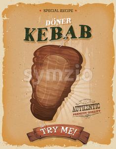 Grunge And Vintage Kebab Sandwich Poster Stock Vector