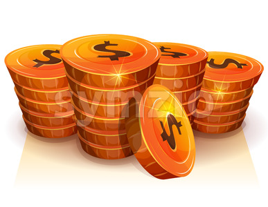 Stack Of Dollar Coins For Game Ui Stock Vector
