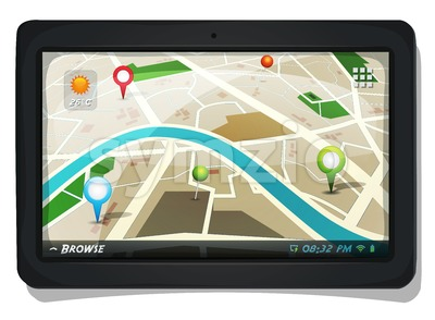 Street Map With GPS Pins On Tablet PC Screen Stock Vector