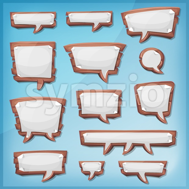 Illustration of a set of cartoon design wooden speech bubbles elements, with sheet paper signs, for comics ads, communication and ...