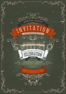 Vintage Invitation Poster Background Stock Vector