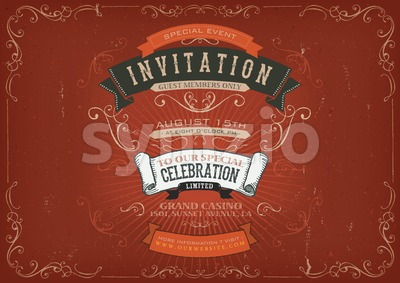 Vintage Invitation Poster Background Stock Vector