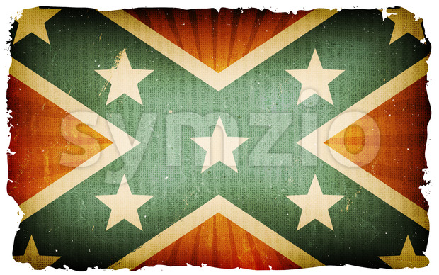 Vintage US Confederate Flag Poster Background Stock Vector