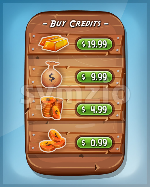 Buying Credits Interface For Ui Game Stock Vector