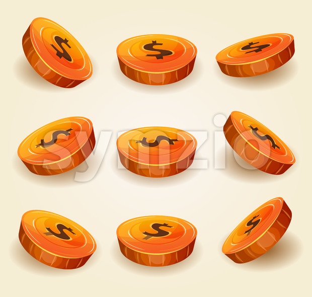 Dollar Coins Set For Game Ui Stock Vector