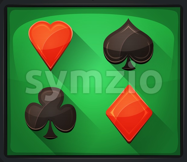 Illustration of casino and poker icons, with spades, diamonds, hearts and clubs gambling cards symbols, on green carpet background