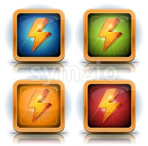 Shield Icons With Lightning Bolts For Game Ui Stock Vector