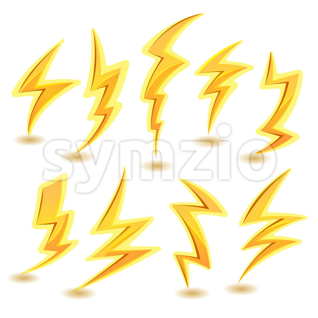 Lightning Bolts Set Stock Vector