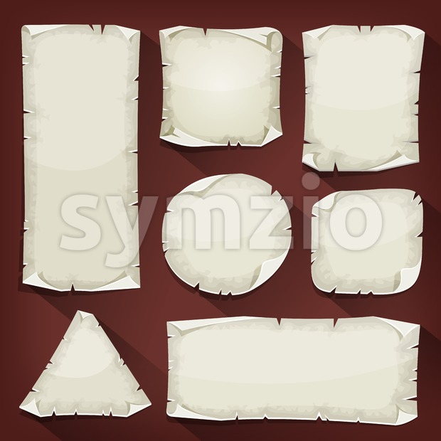 Illustration of a set of cartoon empty old torn paper, in various chapes
