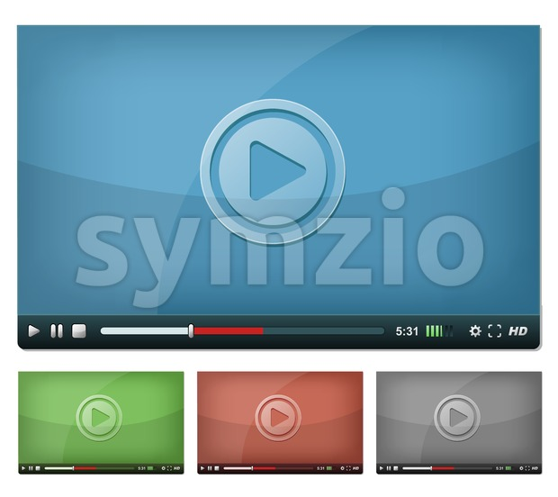 Video Player For Web And Tablet PC Stock Vector