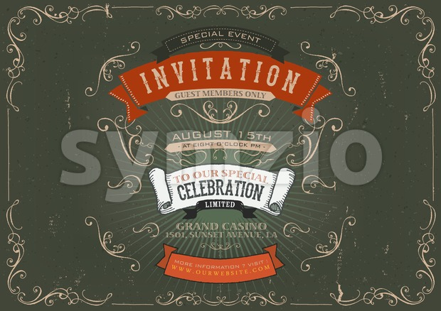 Vintage Invitation Poster Background Stock Photo