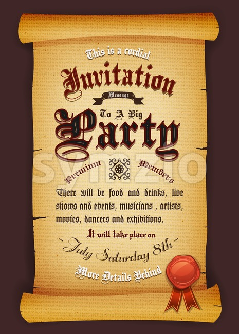 Vintage Invitation On Parchment Stock Vector