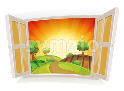 Open Window On A Summer Rural Landscape Stock Vector