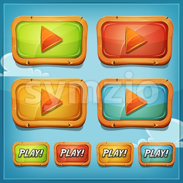 Play Buttons And Icons For Game Ui Stock Vector