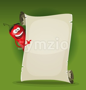 Red Hot Chili Pepper Holding Restaurant Menu Stock Vector