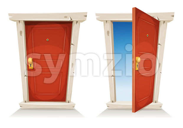 Red Door Open And Closed Stock Vector