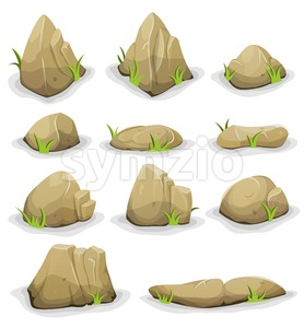 Rocks And Boulders With Grass Leaves Set Stock Vector