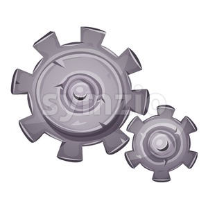 Cartoon Stone Gears Stock Vector