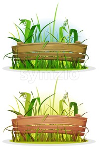 Spring Blades Of Grass With Wood Fence Stock Vector