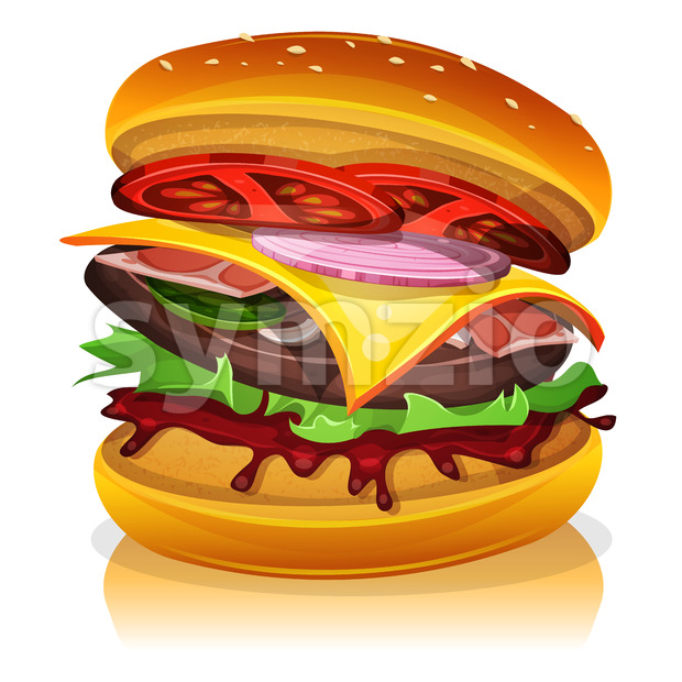 Big Bacon Burger Stock Vector