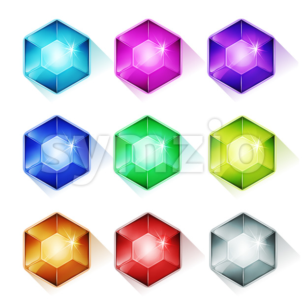 Gems, Crystal And Diamonds Icons Stock Vector