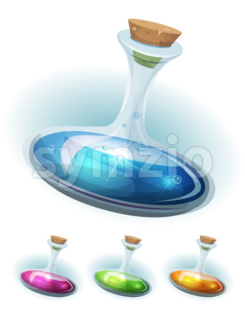 Magic Potion Flask With Elixir For Game Ui Stock Vector
