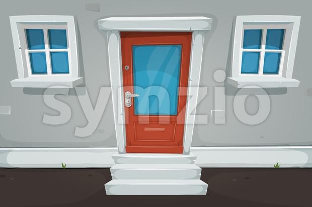 Cartoon House Door And Windows In The Street Stock Vector