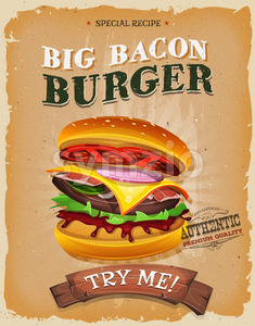 Grunge And Vintage Big Bacon Burger Poster Stock Vector