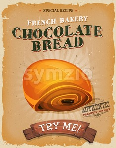 Grunge And Vintage Chocolate Bread Poster Stock Vector