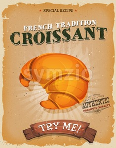 Grunge And Vintage French Croissant Poster Stock Vector
