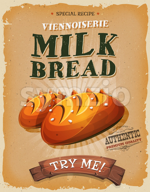 Grunge And Vintage Milk Bread Poster Stock Vector