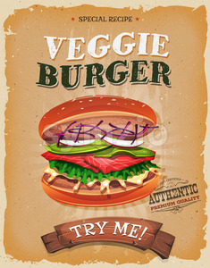 Grunge And Vintage Vegetarian Burger Poster Stock Vector