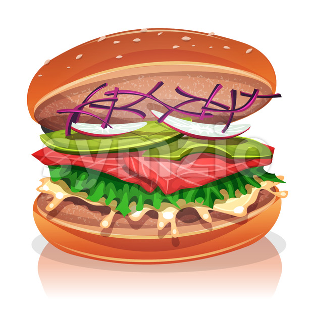 Vegetarian Burger With Salmon Fish Stock Vector