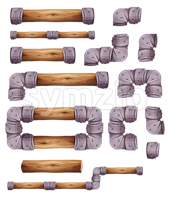 Design Stone And Wood Elements For Platform Game Ui Stock Vector