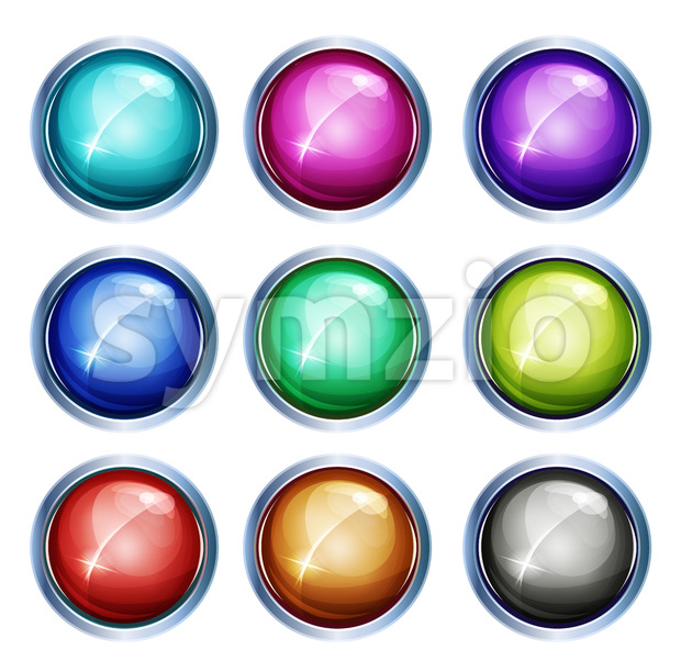 Rounded Light Icons And Buttons Stock Vector