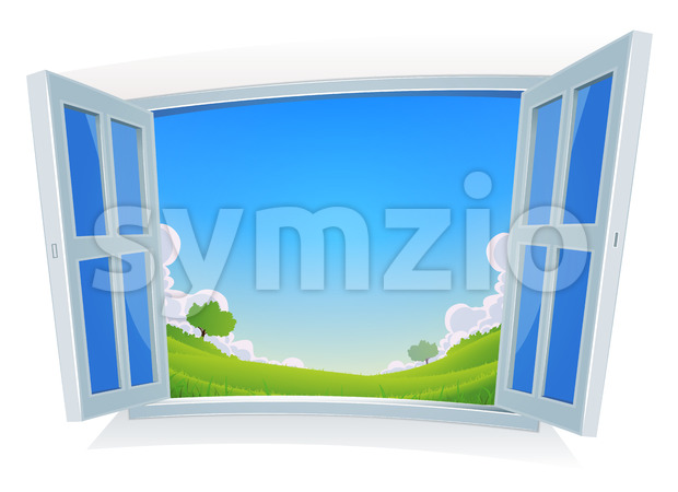 Spring Or Summer Landscape By The Window Stock Vector
