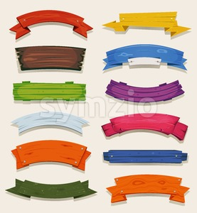 Cartoon Colored Wood Banners And Ribbons Stock Vector