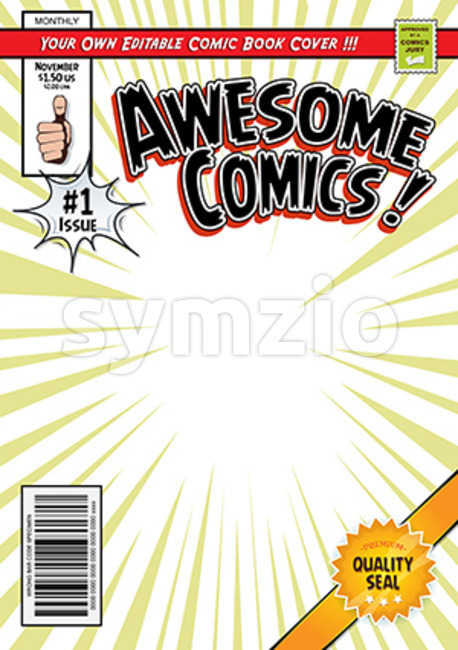Illustration of a cartoon editable comic book cover template, with super hero magazine style, titles and subtitles to customize, and ...