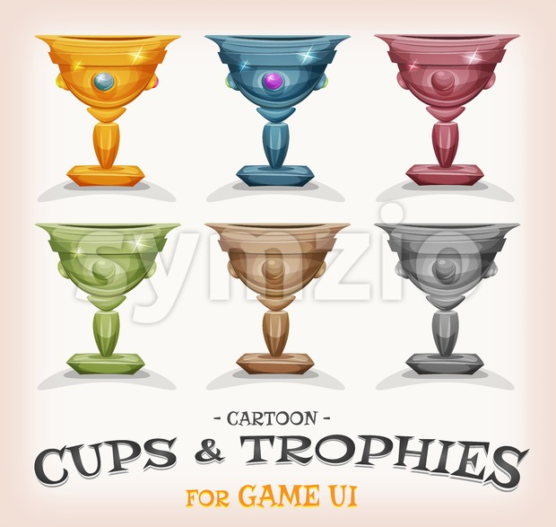 Winners Cups And Trophies For Game UI Stock Vector