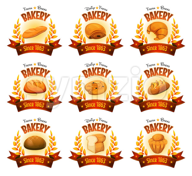 Bakery Shop Banners With Breads And Cakes Stock Vector