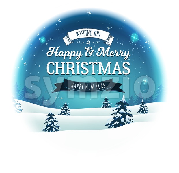 Illustration of a retro christmas landscape background, with firs, snow and elegant banners inside round frame, for winter and new ...
