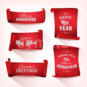 Collection of Christmas Parchment Scroll Stock Vector