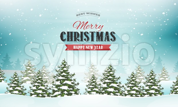 Illustration of a snowy christmas landscape background, with firs, banner and wishes for winter and new year holidays