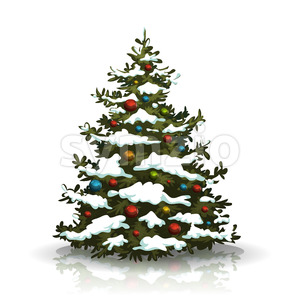 Christmas Pine Tree With Snow And Balls Stock Vector