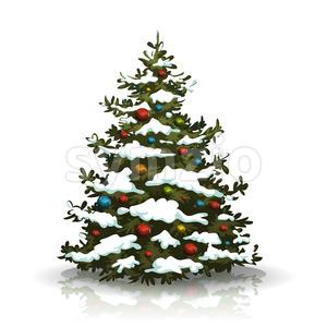 Christmas Pine Tree With Snow And Balls Stock Vector