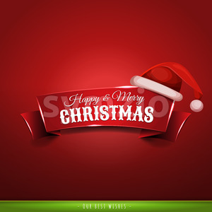 Christmas Banner With Santa Hat Stock Vector