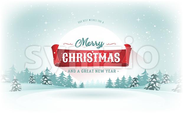 Christmas Landscape Postcard Stock Vector