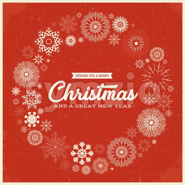 Vintage Merry Christmas Postcard Stock Vector