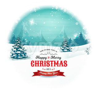 Christmas And New Year Landscape In Snowball Stock Vector