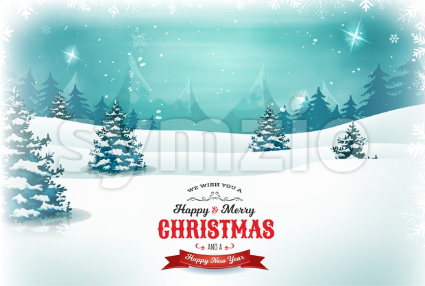 Illustration of a retro christmas landscape background, with cloudy sky, firs, snow, mountains and elegant banners for winter and new ...